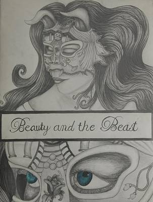 Beauty And The Beast Drawing - Beauty And The Beast by Nyssa Peterson