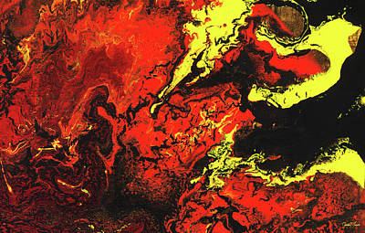 Painting - Beauty And The Beast - Powerful Red Yeellow And Black Abstract Art Painting by Modern Art Prints