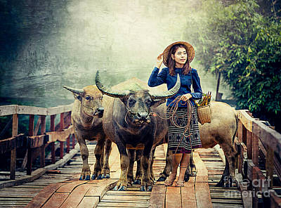 Digital Art - Beauty And The Water Buffalo by Ian Gledhill