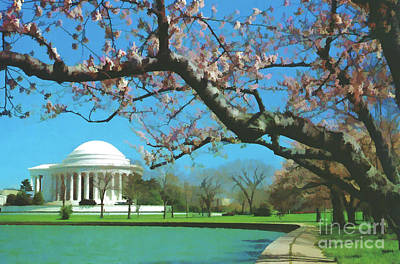 Jefferson Memorial Digital Art - Beauty At The Jefferson Memorial by D Hackett