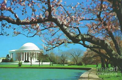 Tourist Attraction Digital Art - Beauty At The Jefferson Memorial by D Hackett