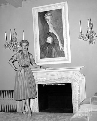 Beauty, Betty Furness, Poses With Her Likeness Behind Her. 1956 Art Print by Anthony Calvacca