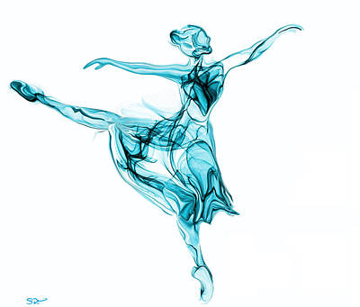 Beauty, Grace And Music Of The Ballerina Art Print by Abstract Angel Artist Stephen K