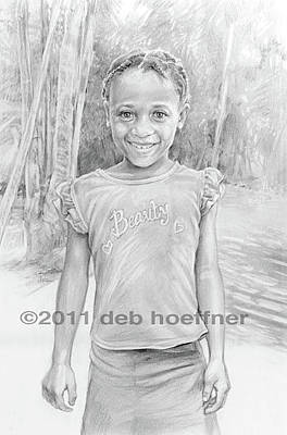 Haitian Drawing - Beauty In Haiti by Deb Hoeffner