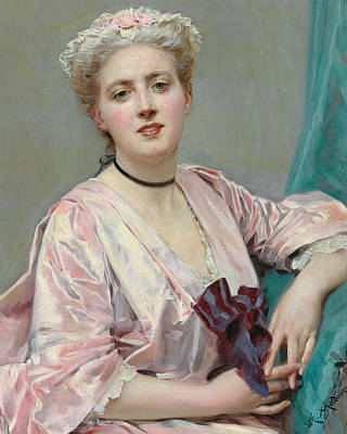 Choker Painting - Beauty In Pink by Raimundo de Madrazo y Garetta