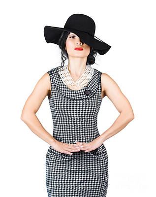 Beauty Model Posing In Classy Outfit With Hat Art Print