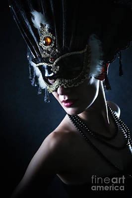 Art Print featuring the photograph Beauty Model Wearing Venetian Masquerade Carnival Mask by Dimitar Hristov