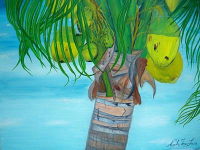 Art Print featuring the painting Beauty Of A Coconut Palm Tree by Nicole Jean-louis