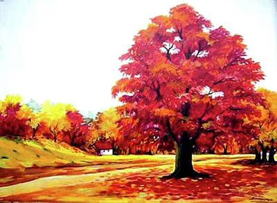 Painting - Beauty Of Autumn- Acrylic On Canvas by Samiran Sarkar