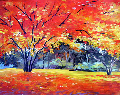 Painting - Beauty Of Autumn Forest-acrylic On Canvas Painting  by Samiran Sarkar