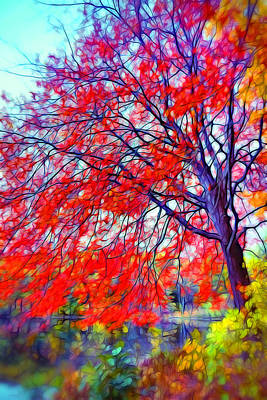 Red Digital Art - Beauty Of Autumn by Lilia D