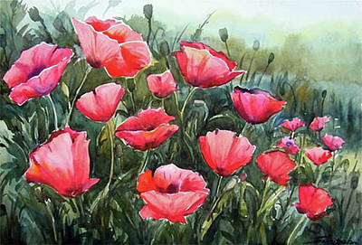 Painting - Beauty Of Red Poppies by Samiran Sarkar