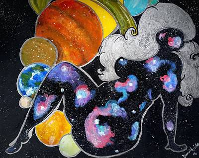 Natural Hair Painting - Beauty Out Of This World by Diamin Nicole