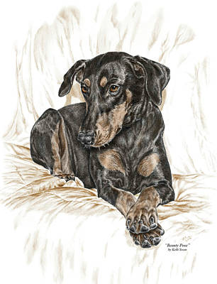 Pinscher Drawing - Beauty Pose - Doberman Pinscher Dog With Natural Ears by Kelli Swan