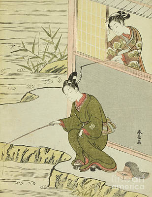 Painting - Beauty Teasing A Young Man Fishing by Suzuki Harunobu