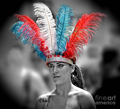 Photograph - Beauty With A Feathered Headdress IIi by Jim Fitzpatrick