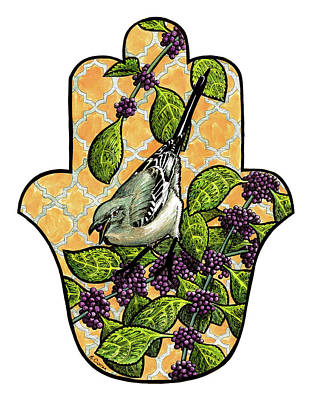 Mockingbird Drawing - Beautyberry Mockingbird by Mindy Curran