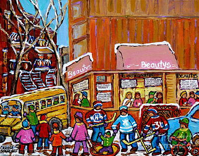 Beauty's Deli Montreal Memories Snowy Winter Paintings Hockey Art School Bus Scenes Carole Spandau   Art Print