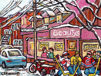 Photograph - Beauty's Deli Montreal Winter In The City Paintings For Sale Hockey Kids Street Hockey C Spandau Art by Carole Spandau
