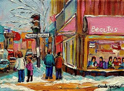 Montreal Winterscenes Painting - Beautys Luncheonette Montreal by Carole Spandau