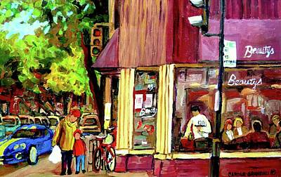 Two Bikes Painting - Beautys Luncheonette Montreal Diner by Carole Spandau