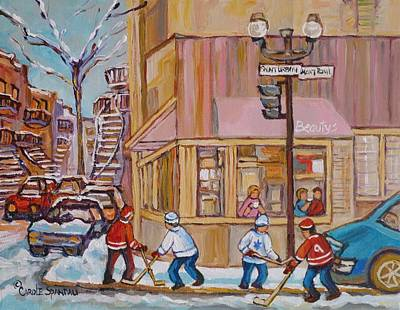 Montreal Storefronts Painting - Beautys Restaurant  by Carole Spandau