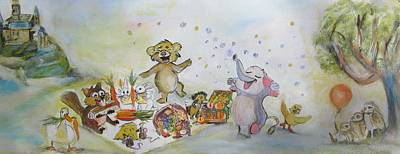 Mixed Media - Beaver And Animal Picnic by Denice Palanuk Wilson