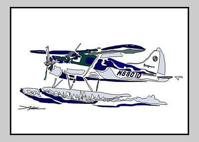 Beaver Drawing - Beaver At Liftoff by Arlon Rosenoff