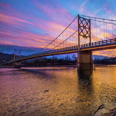 Photograph - Beaver Bridge Sunset - Eureka Springs Arkansas - Square Format by Gregory Ballos
