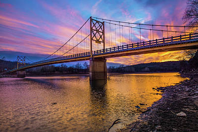 Photograph - Beaver Bridge - The Little Golden Gate Bridge Of Arkansas by Gregory Ballos