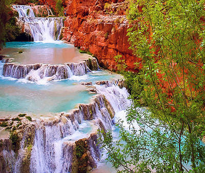 Painting - Beaver Falls Grand Canyon Painting by Dr Bob Johnston