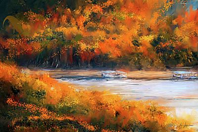 Painting - Beaver Lake Impressionist - Beaver Lake Art by Lourry Legarde