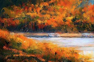 Beaver Painting - Beaver Lake Impressionist - Beaver Lake Art by Lourry Legarde