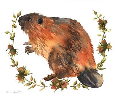 Beaver Painting Print by Alison Fennell