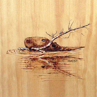 Pyrography - Beaver Pillow/bag by Ron Haist