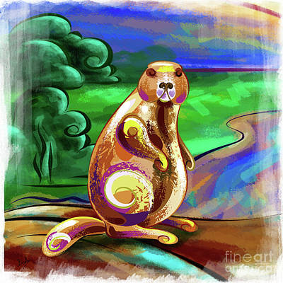 Digital Art - Beaver Pose by Bedros Awak