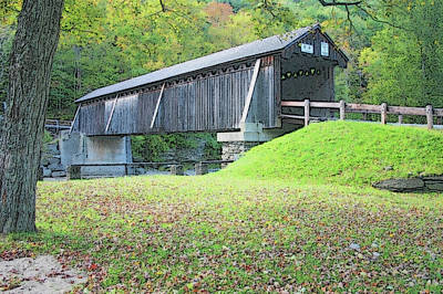 Photograph - Beaverkill Covered Bridge - Digital Art by Ericamaxine Price