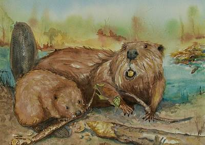 Gnawing Painting - Beavers by Barbara McGeachen