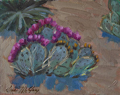 Blooming Painting - Beavertail Cactus by Diane McClary