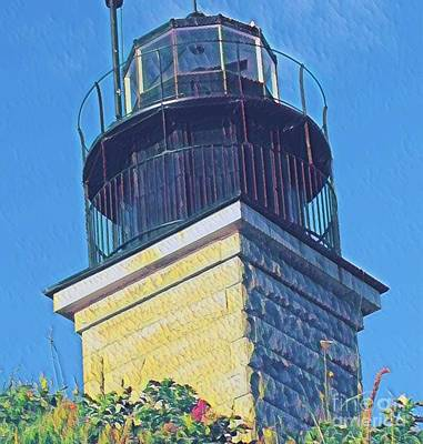 Commerce Mixed Media - Beavertail Lighthouse by Rick Maxwell
