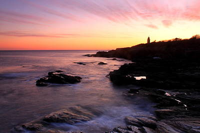 Photograph - Beavertail State Park Bluffs And Lighthouse At Sunset by John Burk