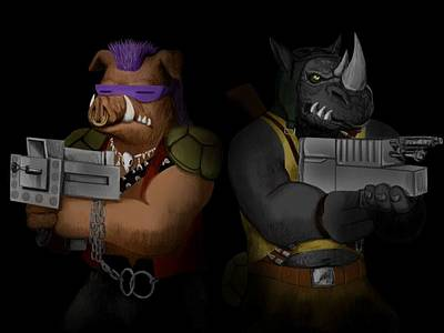 Tmnt Painting - Bebop And Rocksteady by Amber Stanford