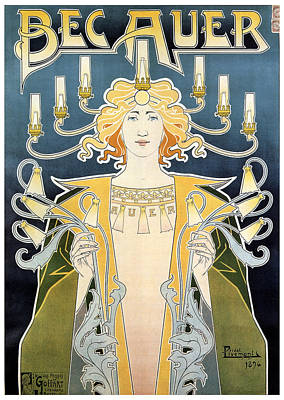 Royalty-Free and Rights-Managed Images - Bec Auer - Art Nouveau - Vintage Advertising Poster by Studio Grafiikka