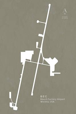 Kansas Digital Art - Bec Beech Factory Airport In Wichita Usa Runway Silhouette by Jurq Studio