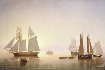 Painting - Becalmed Off Halfway Rock By Fitz Henry Lane 1860 by Fitz Henry Lane