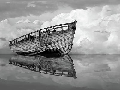 Photograph - Becalmed - Old Fishing Boat In Black And White by Gill Billington