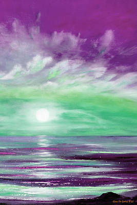 Painting - Because You Deserve Color - Vertical Purple And Green Sunset by Gina De Gorna