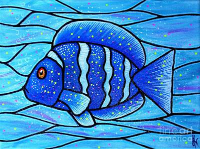 Art Print featuring the painting Beckys Blue Tropical Fish by Jim Harris