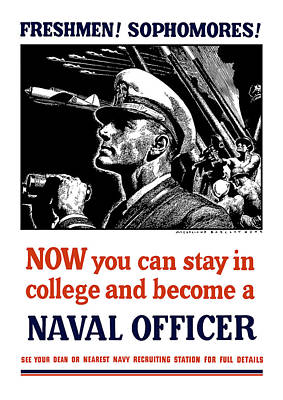 War Is Hell Store Mixed Media - Become A Naval Officer by War Is Hell Store