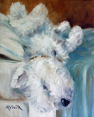Sleeping Puppy Painting - Bed Hog by Mary Sparrow
